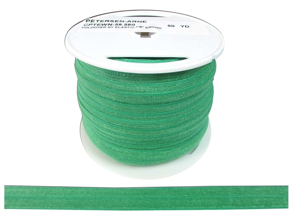 Fold Over Nylon Elastic by Cheep Trims 5/8 in. Green (50 yards)
