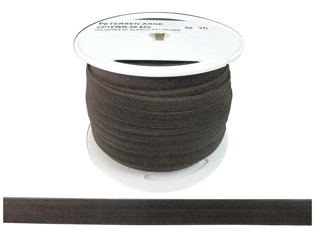 Fold Over Nylon Elastic by Cheep Trims 5/8 in. Brown (50 yards)