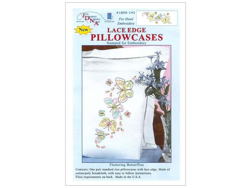 Jack Dempsey Pillowcase Lace Edge White Fluttering Butterflies