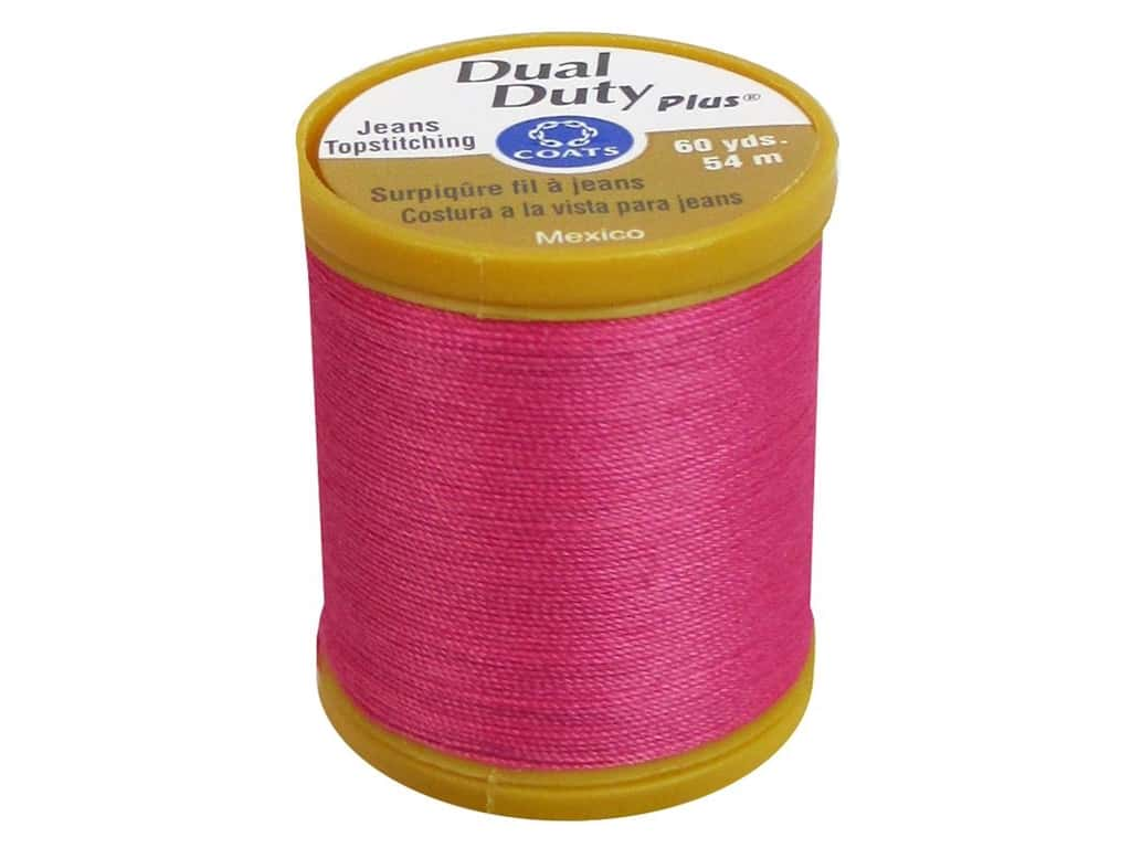 Coats Dual Duty Plus Jeans Topstitching Polyester Thread 60 yd. Hot Pink
