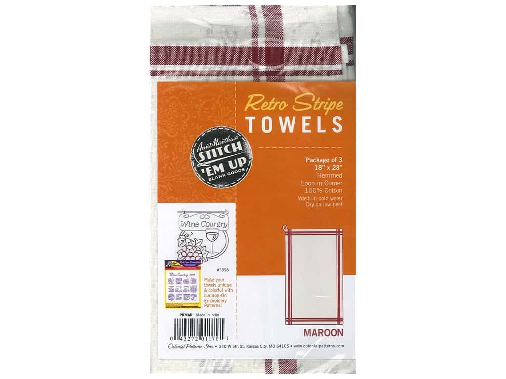 Aunt Martha's Towels Retro Stripe 3 pc. Maroon