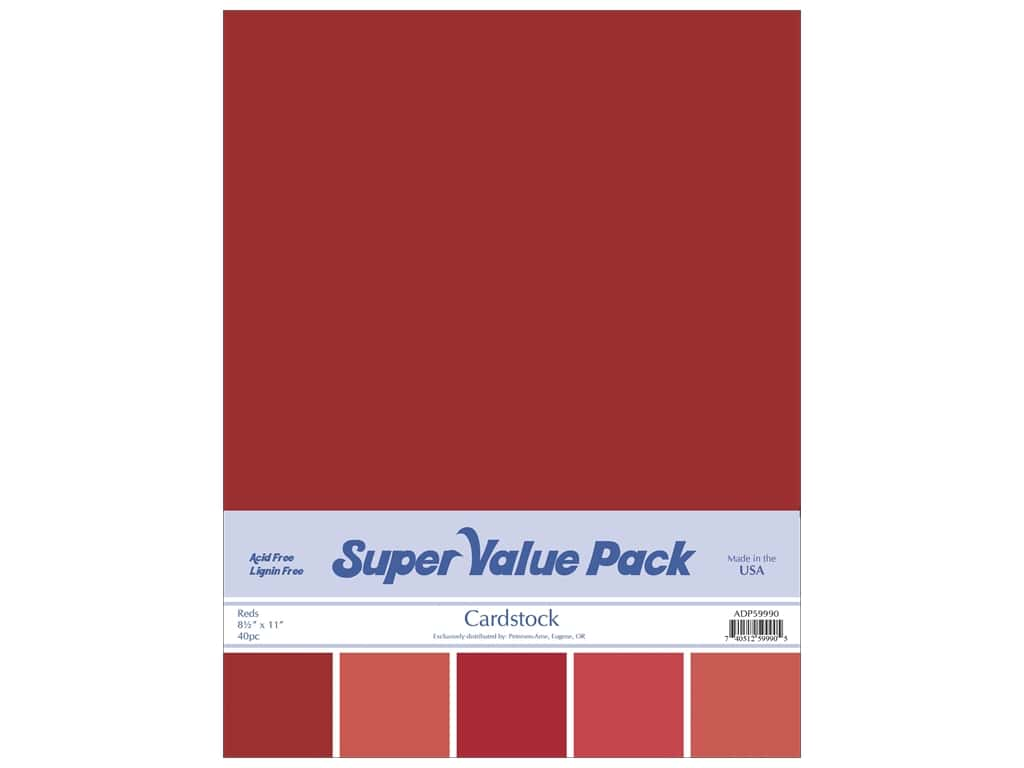 Cardstock Super Value Pack 8 1/2 x 11 in. Reds Variety 40 pc.