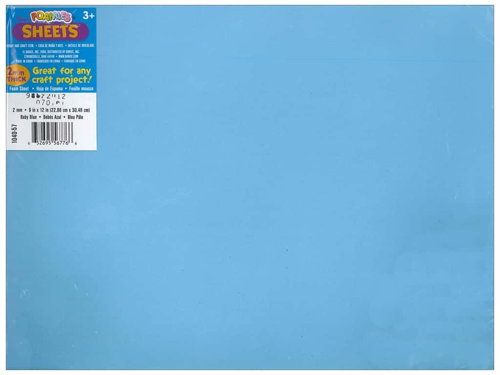Darice Foamies Foam Sheet 9 x 12 in. 2 mm. Baby Blue (10 sheets)