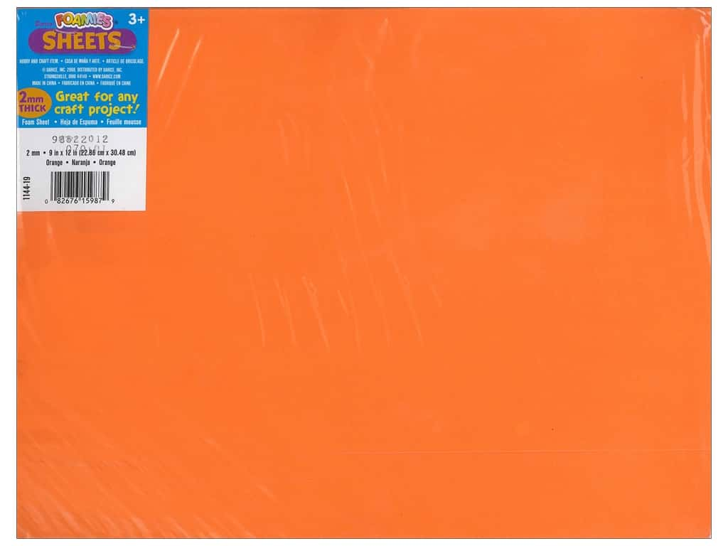 Darice Foamies Foam Sheet 9 x 12 in. 2 mm. Orange (10 sheets)