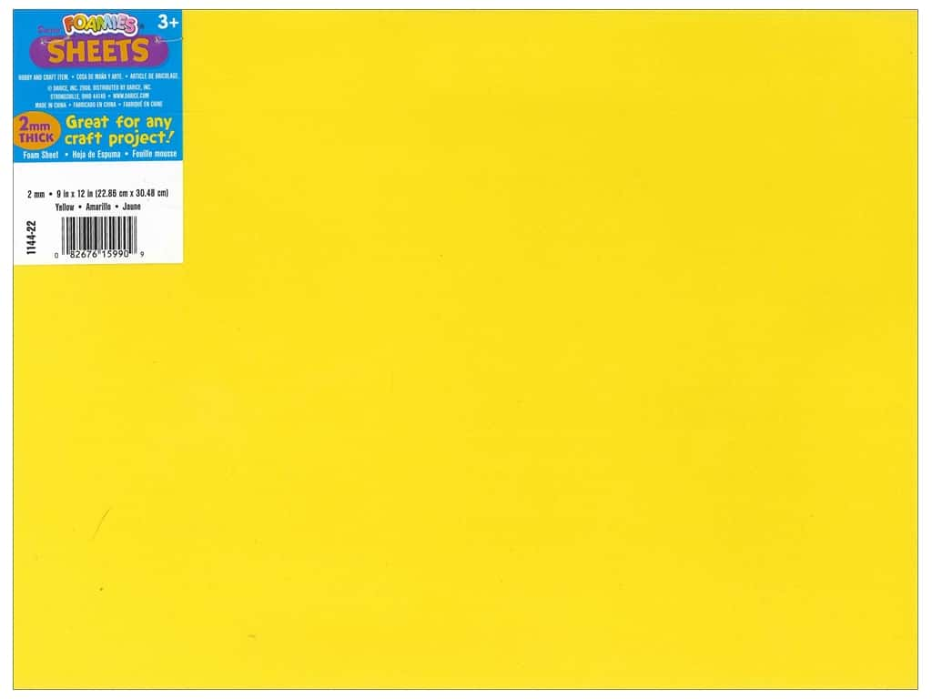 Darice Foamies Foam Sheet 9 x 12 in. 2 mm. Yellow (10 sheets)