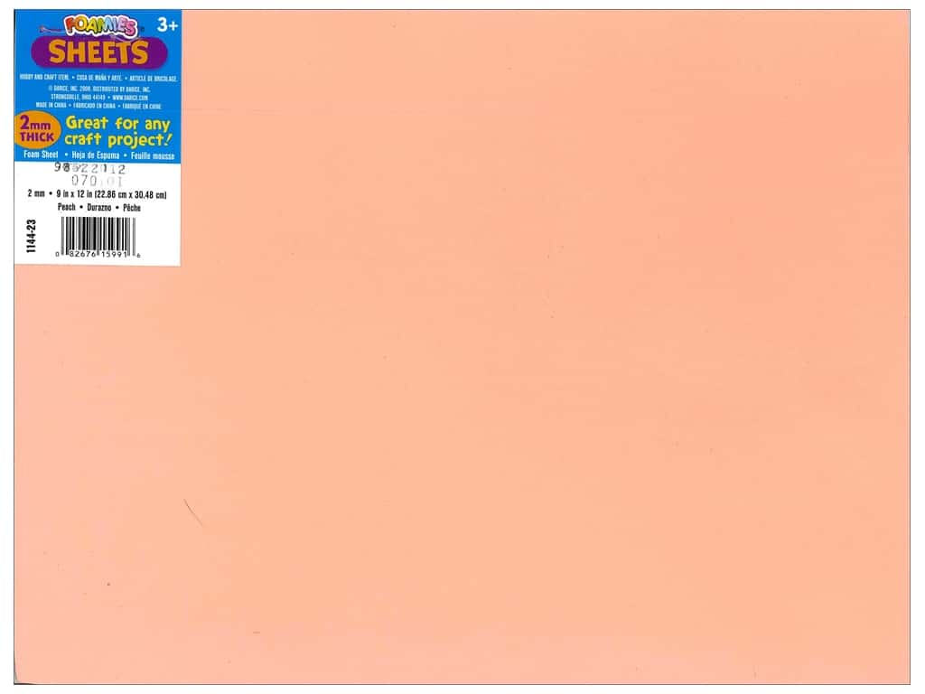 Darice Foamies Foam Sheet 9 x 12 in. 2 mm. Peach (10 sheets)