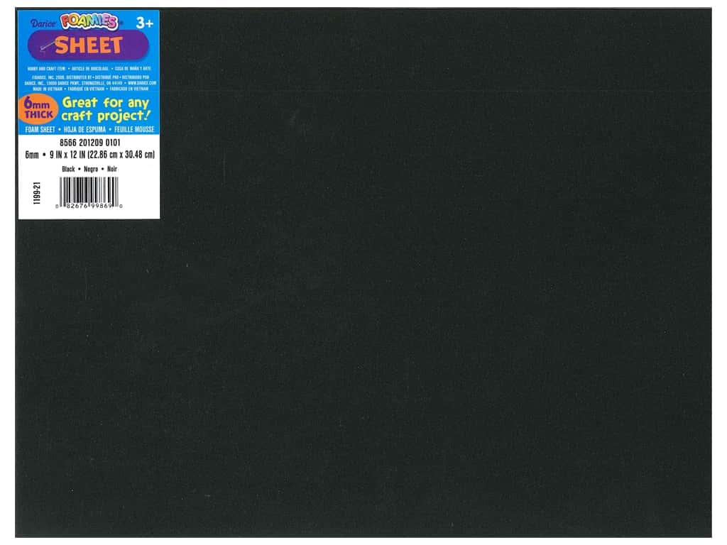 Darice Foamies Foam Sheet 9 x 12 in. 6 mm. Black