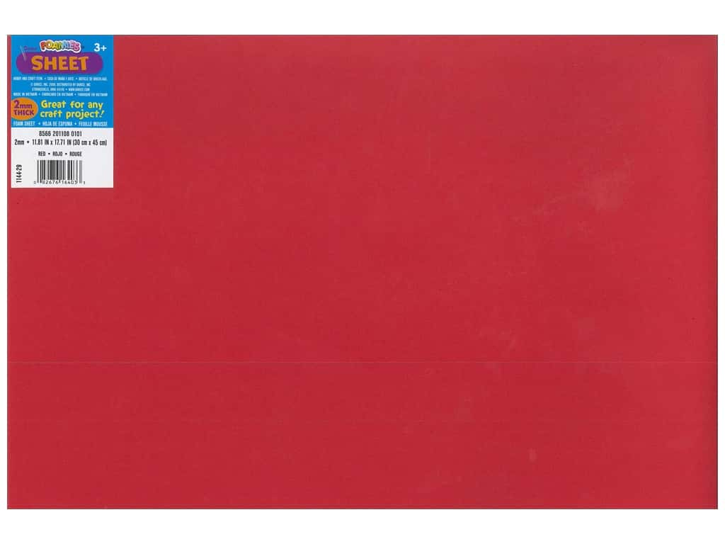 Darice Foamies Foam Sheet 12 x 18 in. 2 mm. Red (10 sheets)