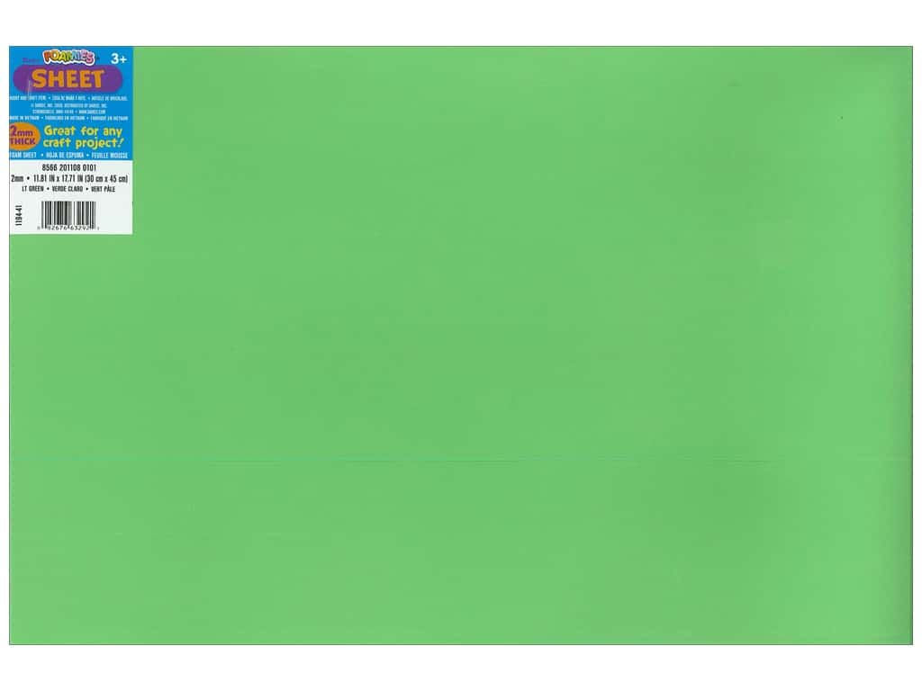 Darice Foamies Foam Sheet 12 x 18 in. 2 mm. Light Green (10 sheets)
