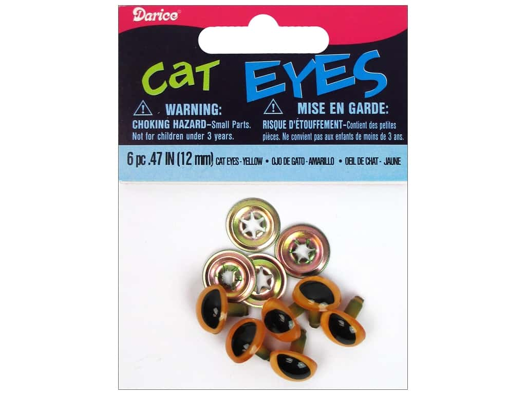 Darice Cat Eyes with Metal Washers 12 mm Yellow 6 pc.