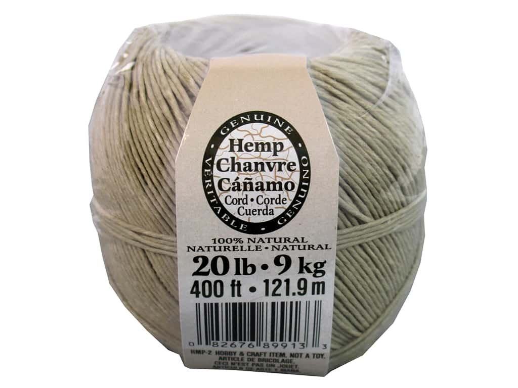 Darice Hemp Cord 20 lb. Natural 400 ft.