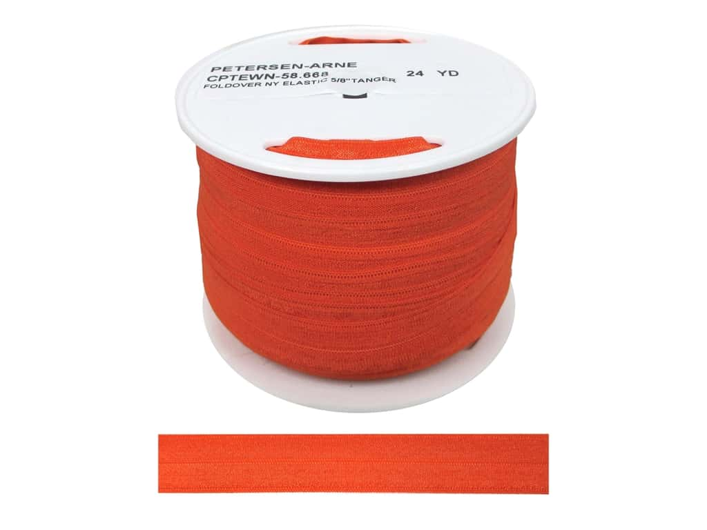 Fold Over Nylon Elastic by Cheep Trims 5/8 in. Tangerine (50 yards)