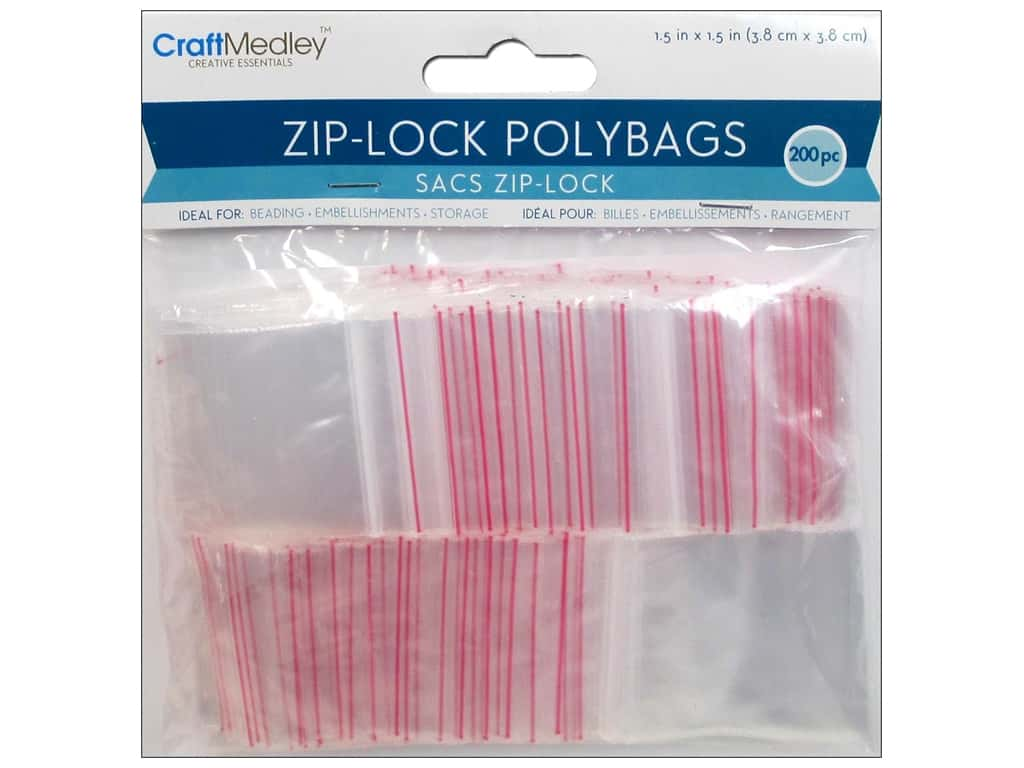 Craft Medley Zip-Lock Polybags 1 1/2 x 1 1/2 in. 200 pc.