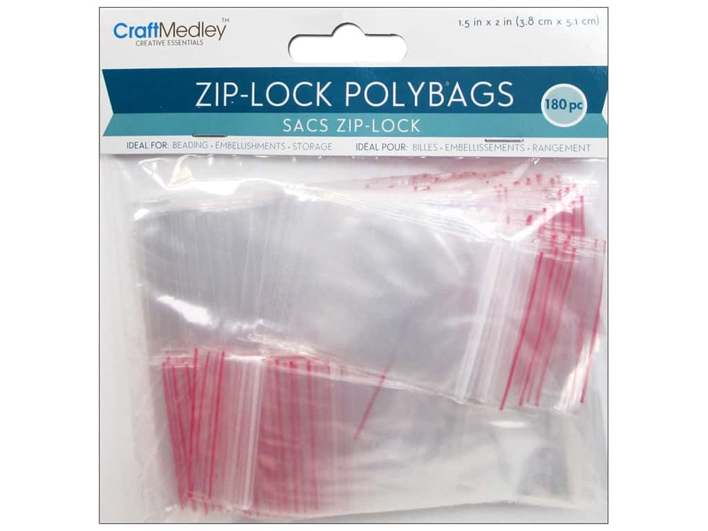 Craft Medley Zip-Lock Polybags 1 1/2 x 2 in. 180 pc.