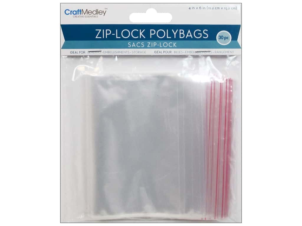 Craft Medley Zip-Lock Polybags 4 x 6 in. 30 pc.