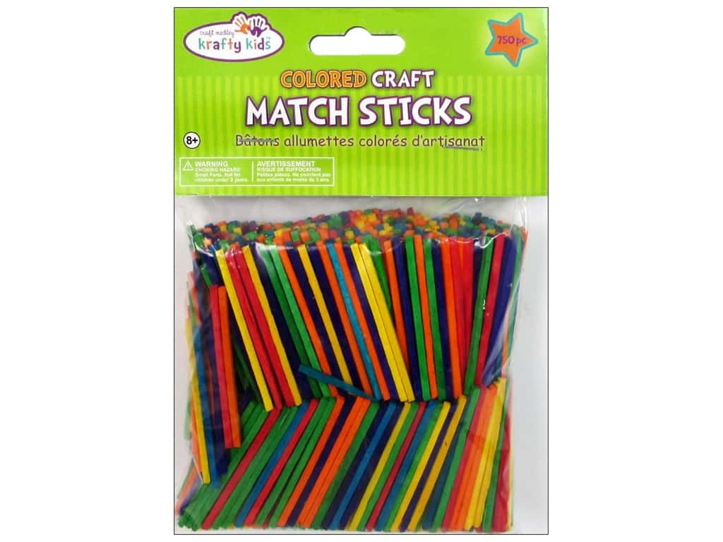 Craft Medley Wood Craft Match Sticks 2 in. Colored 750 pc.