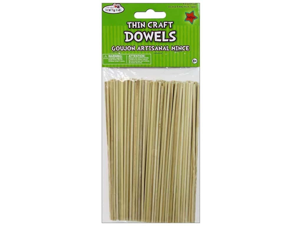Craft Medley Wood Dowel 6 x 1/10 in. Natural 140 pc.