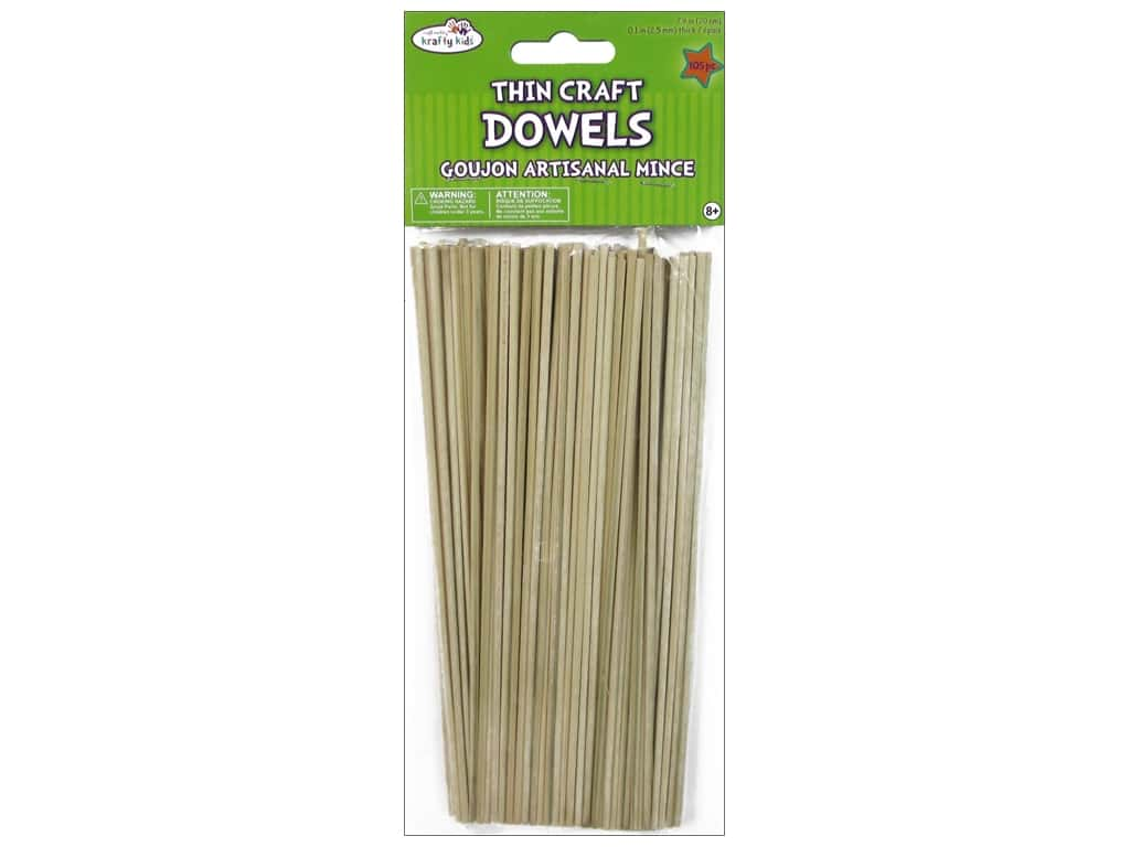 Craft Medley Wood Dowel 8 x 1/10 in. Natural 105 pc.