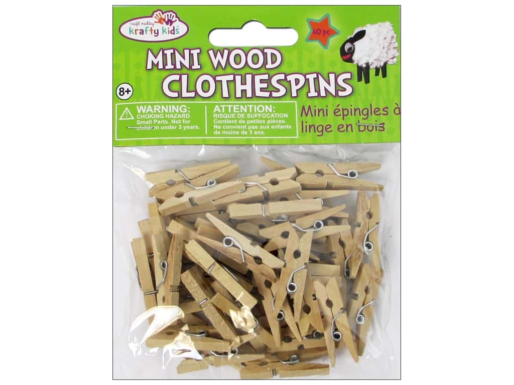 Craft Medley Mini Clothespin 1 x 3/16 in. Natural 40 pc.