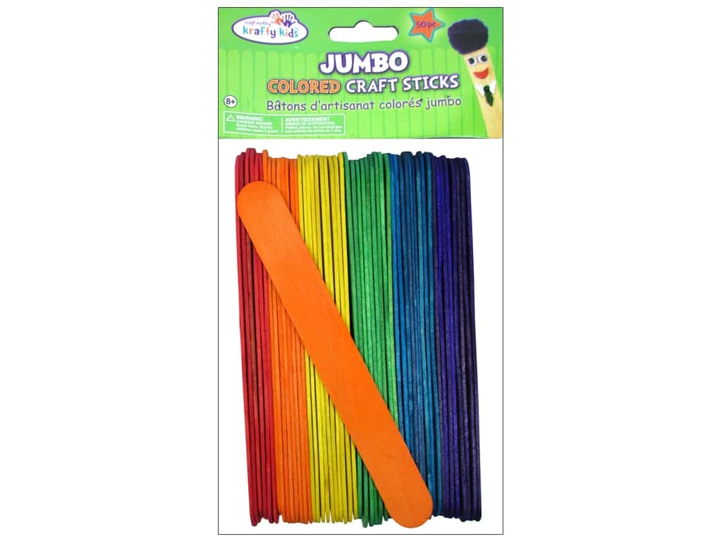 Craft Medley Craft Sticks Jumbo 6 in. Colored 50 pc.