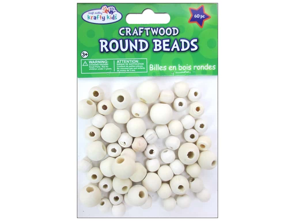 Craft Medley Wood Bead Round 7/16 - 5/8 in. Natural 60 pc.