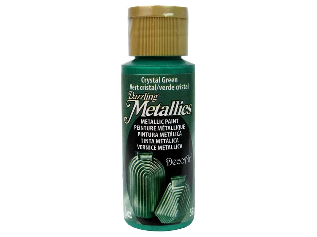DecoArt Dazzling Metallics Acrylic Paint 2 oz. Crystal Green