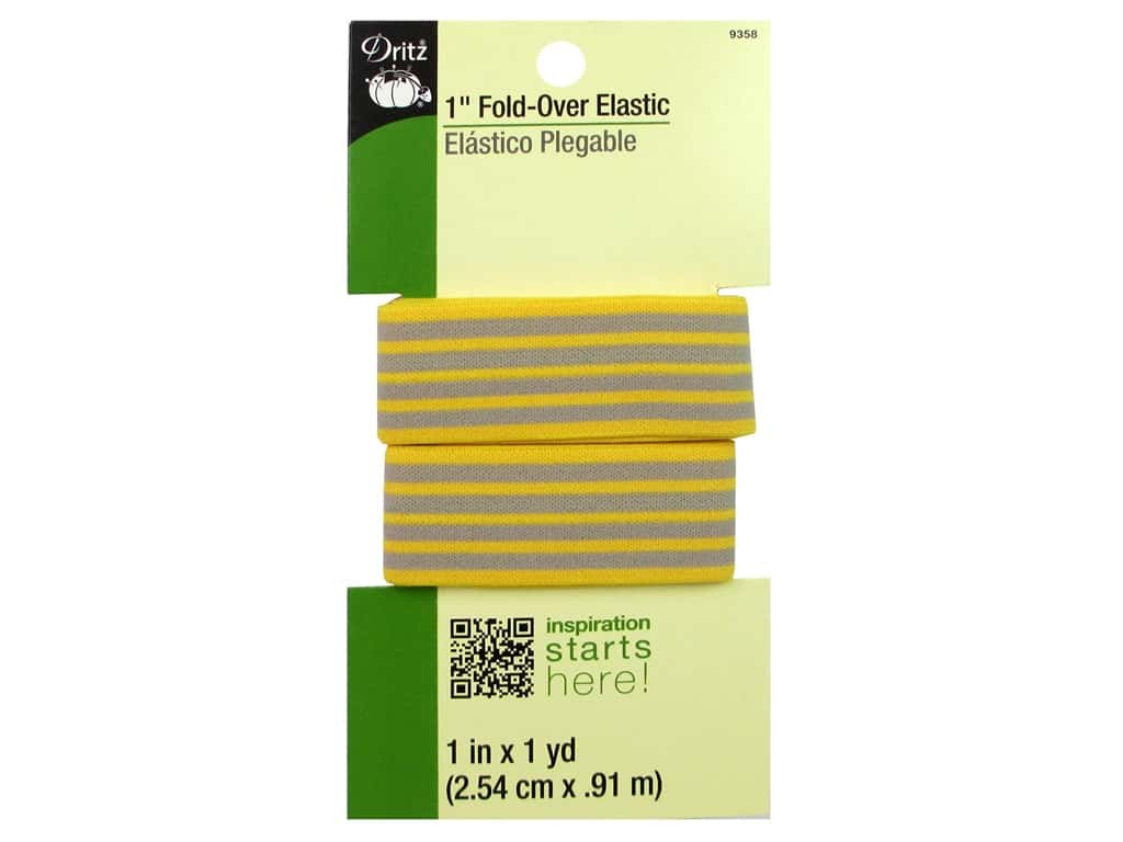 Dritz Fold-Over Elastic 1 in. x 1 yd. Stripe Yellow/Gray