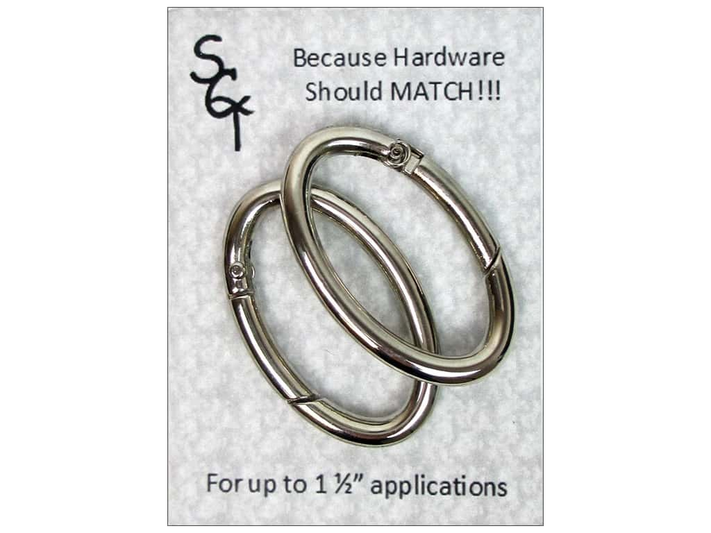"""Sisters Common Thread Hardware Spring Ring 1.5"""" Nickel 2pc"""