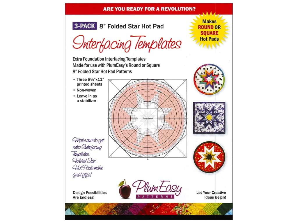 PlumEasy Patterns Interfacing Template Hot Pad 3pc