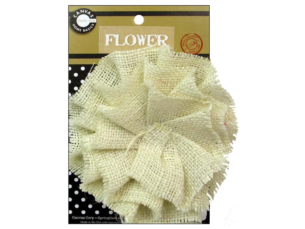 Canvas Corp Burlap Flower 4 in. Ivory
