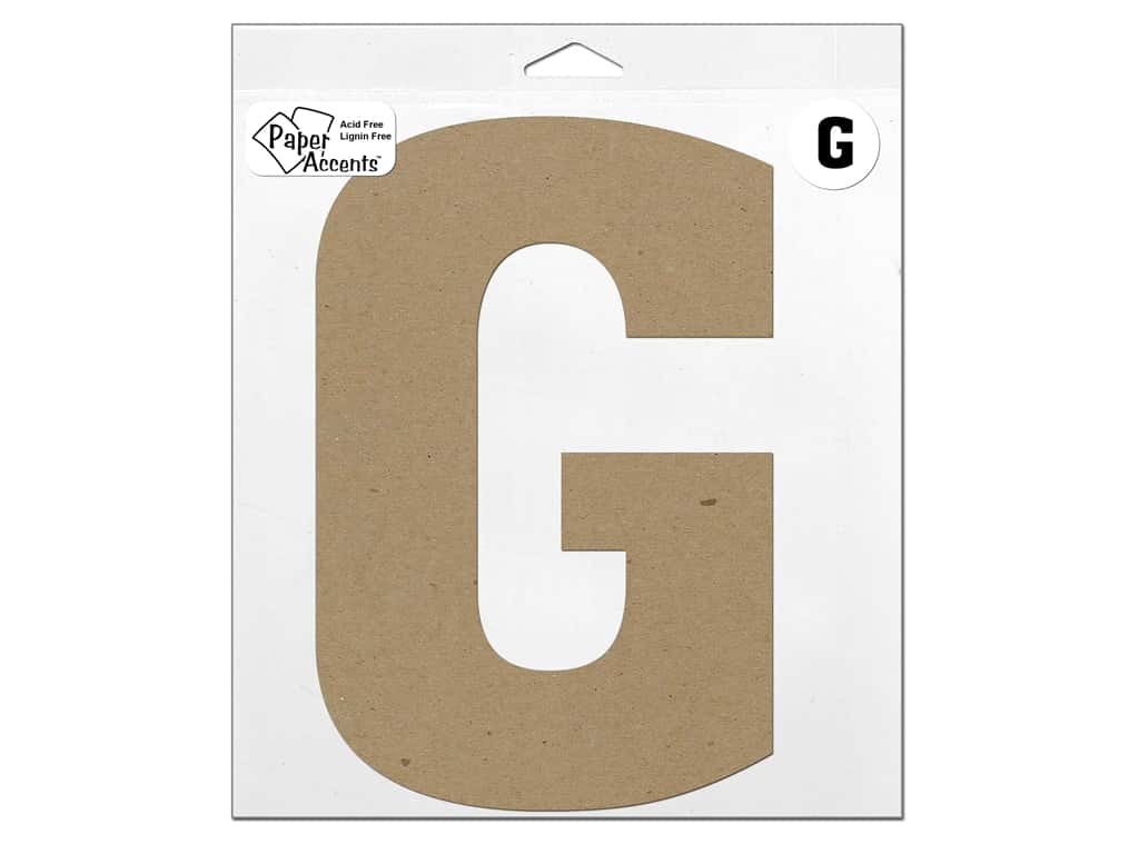 "Paper Accents Chipboard Shape Letter ""G"" 11 in. 1 pc. Natural"