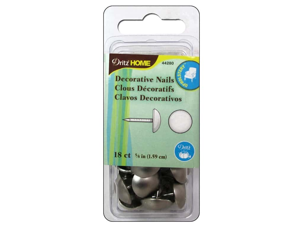 Dritz Decorative Nails 5/8 in. Round Brushed Silver 18 pc.