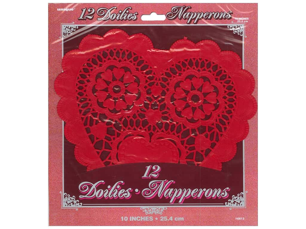 Unique Heart Doilies 10 in. 12 pc. Red