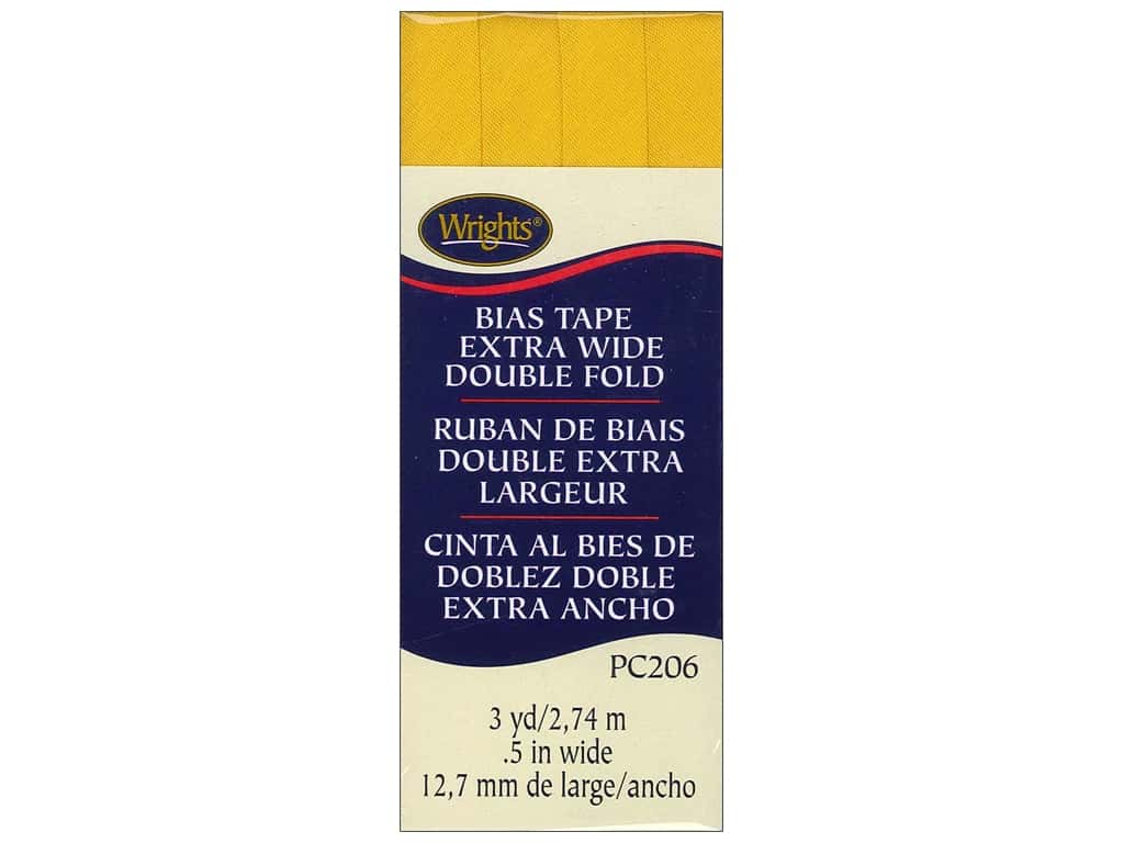 Wrights Extra Wide Double Fold Bias Tape 3 yd. Yellow