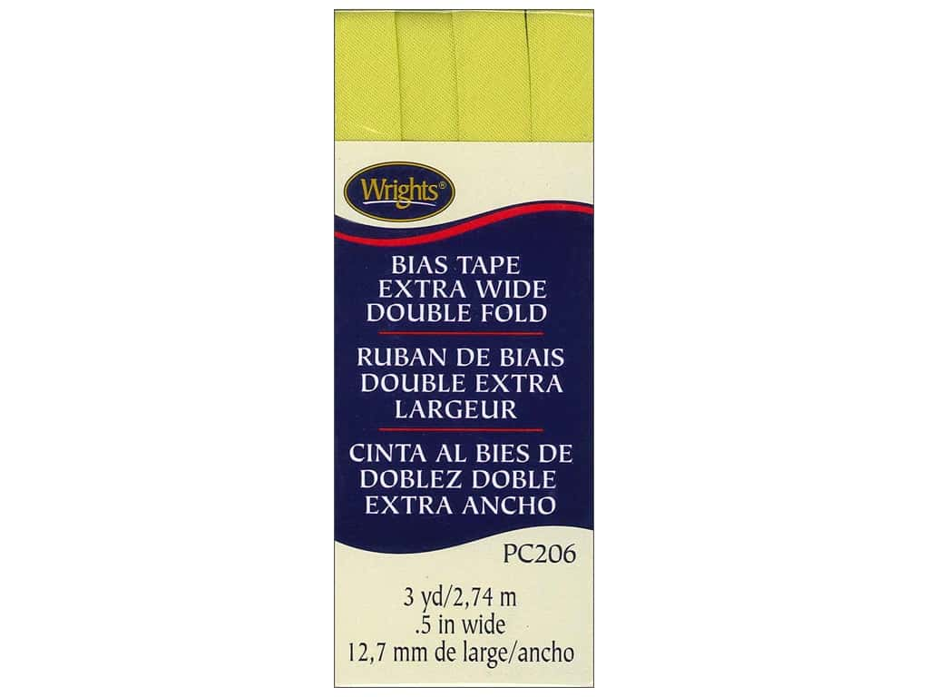 Wrights Extra Wide Double Fold Bias Tape - Citron 3 yd.