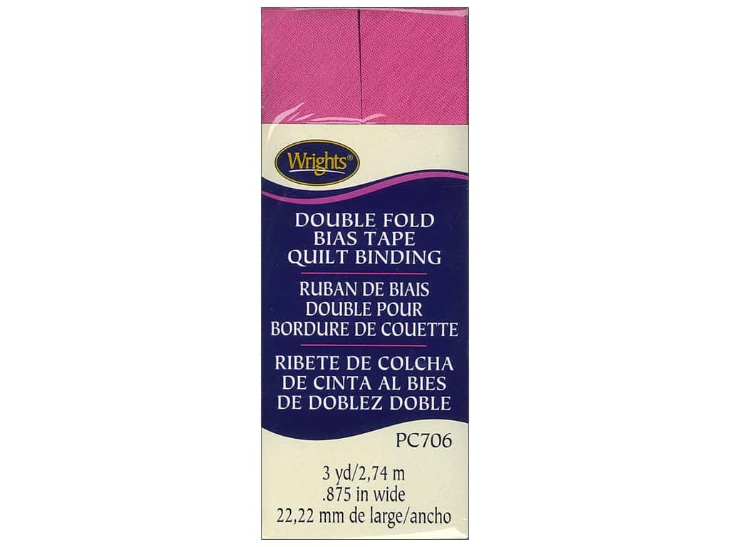 Wrights Double Fold Quilt Binding 3 yd. Bright Pink