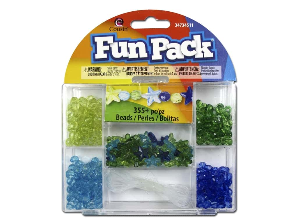 Cousin Fun Pack Bead Kit - Blue & Green Star with Cord