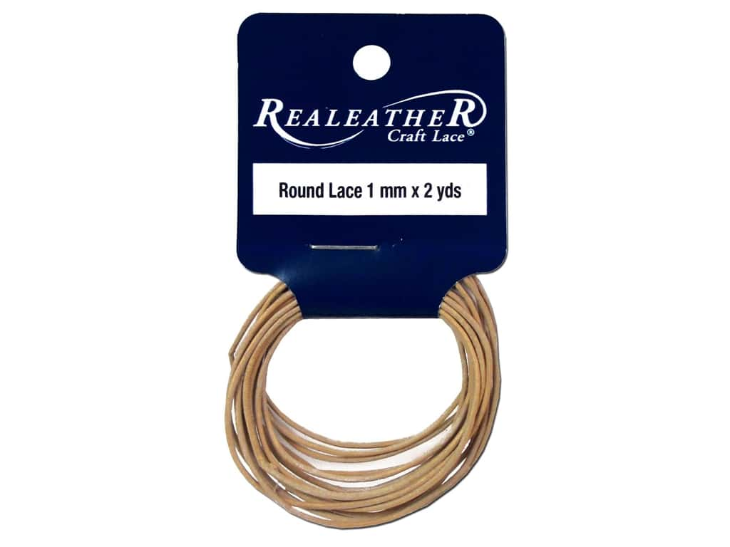 Silver Creek Leather Lace Round 1 mm x 2 yd. Natural
