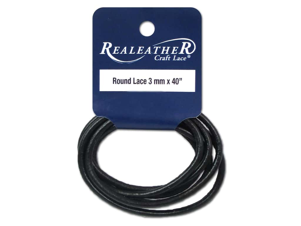 Silver Creek Leather Lace Round 3 mm x 40 in. Black