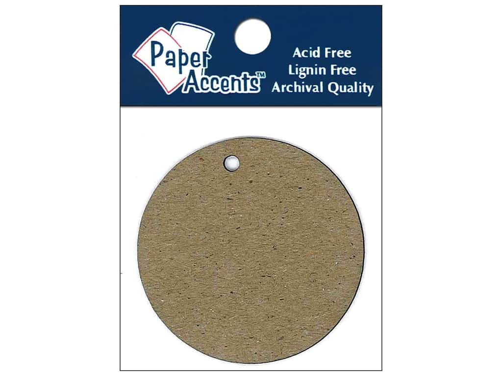 Paper Accents Chipboard Shape Circle Tag 12 pc. Natural