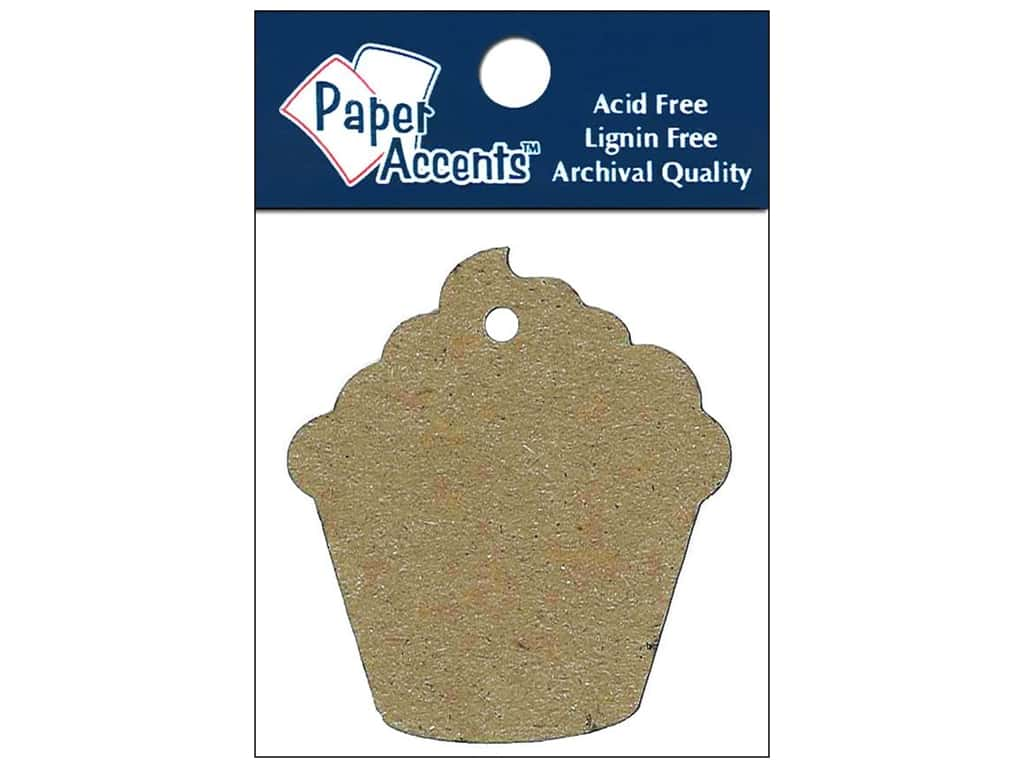 Paper Accents Chipboard Shape Cupcake Tag 12 pc. Natural