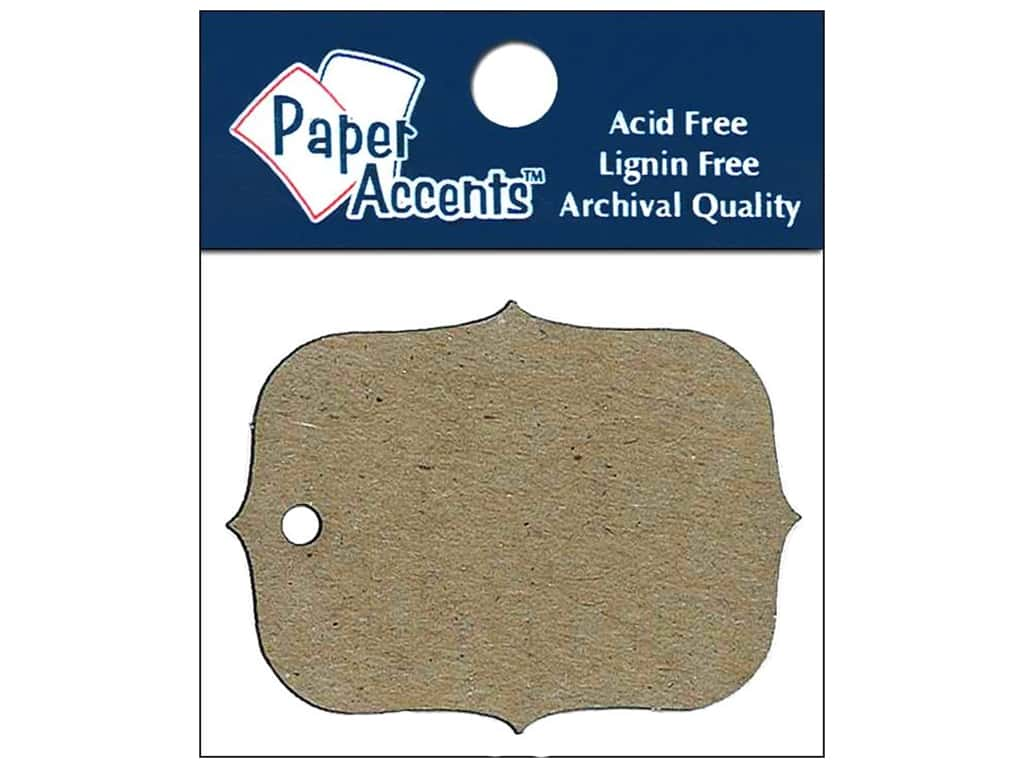 Paper Accents Chipboard Shape Marquee #4 Tag 12 pc. Natural