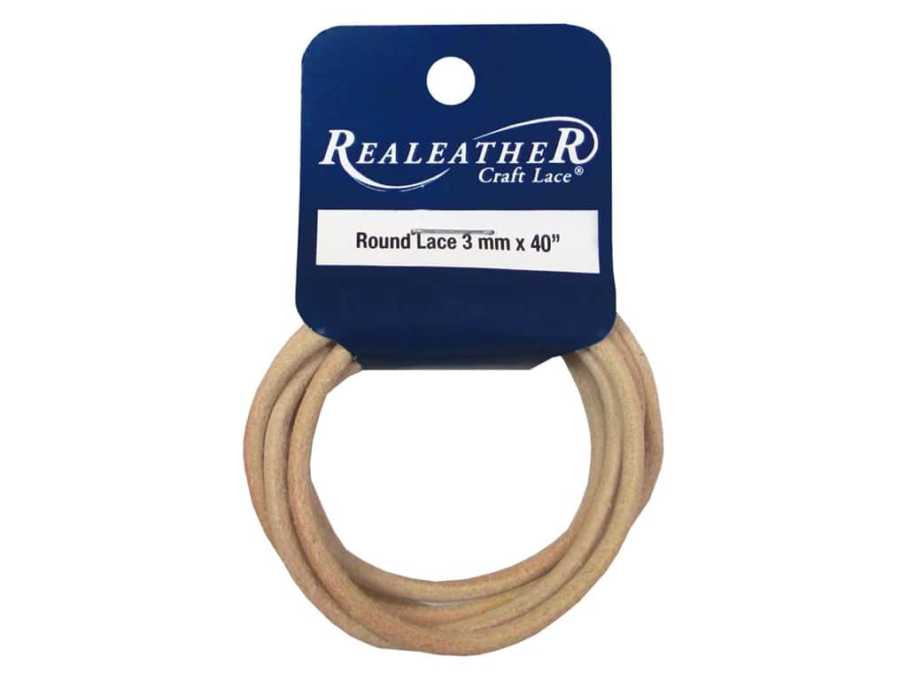 Silver Creek Leather Lace Round 3 mm x 40 in. Natural
