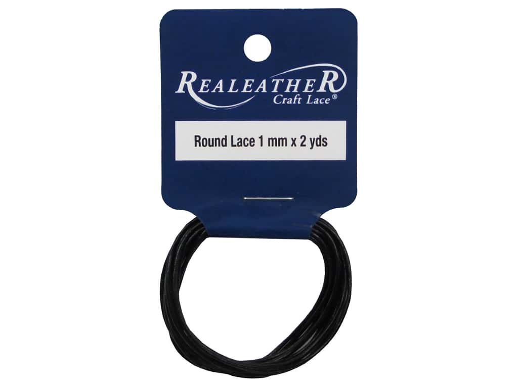 Silver Creek Leather Lace Round 1 mm x 2 yd. Black