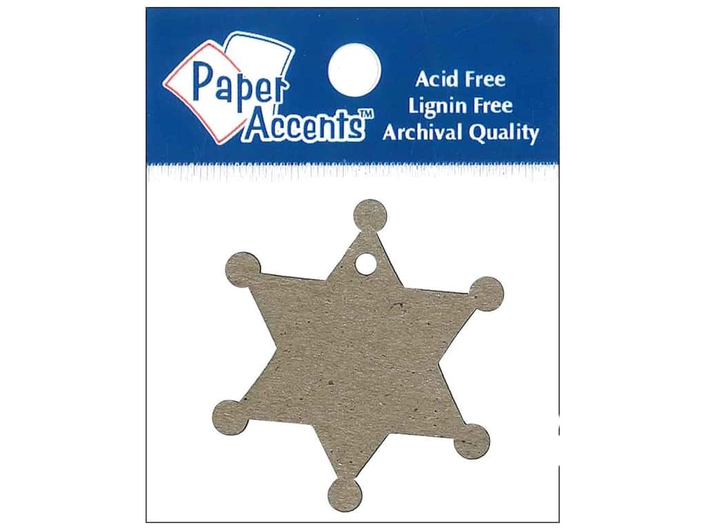 Paper Accents Chipboard Shape Sheriff Badge Tag 12 pc. Natural