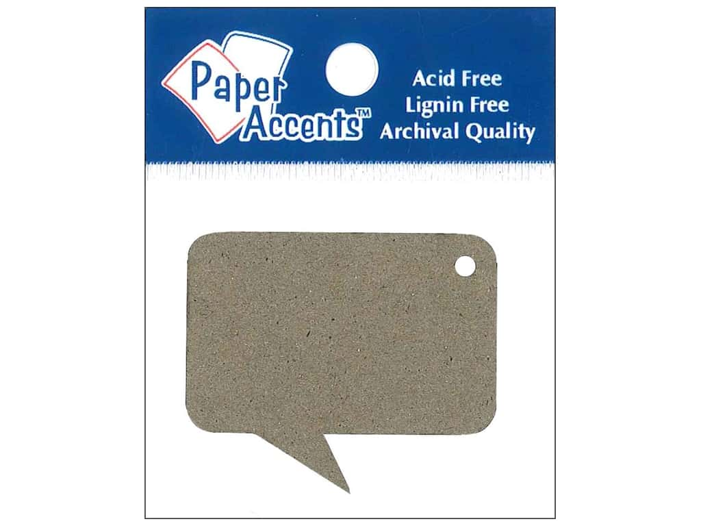 Paper Accents Chipboard Shape Caption Tag 12 pc. Natural