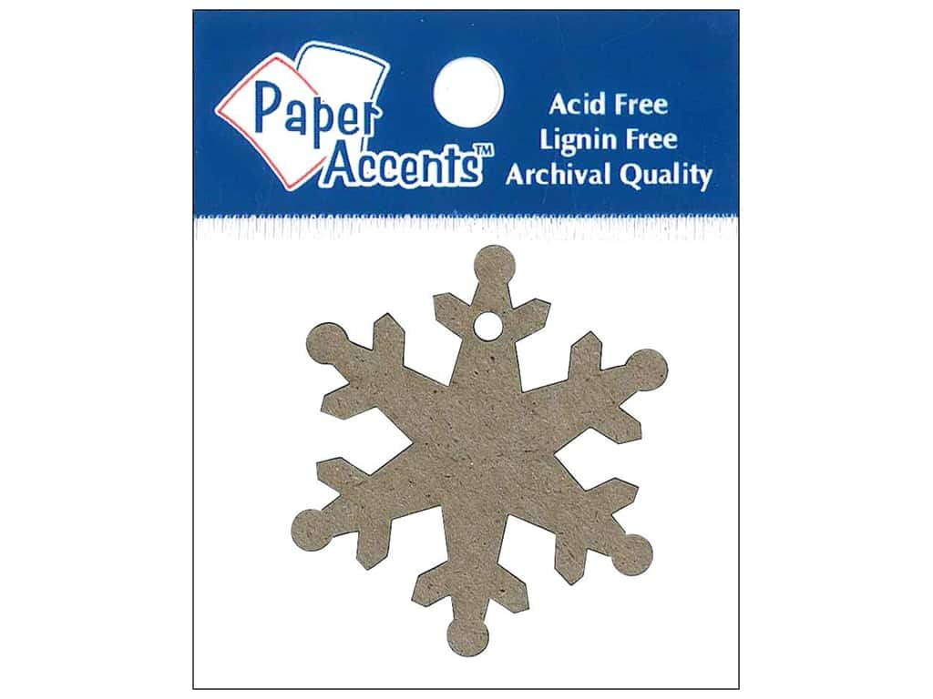 Paper Accents Chipboard Shape Snowflake Tag 12 pc. Kraft