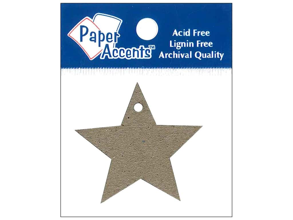 Paper Accents Chipboard Shape Star Tag 12 pc. Natural
