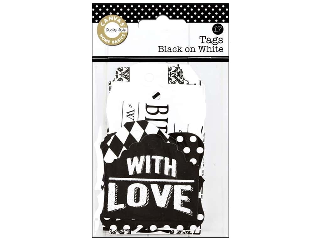 Canvas Corp Printed Tags Black On White