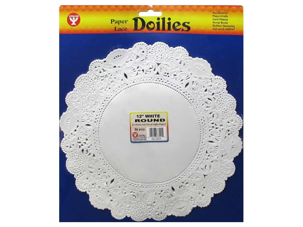Hygloss Paper Lace Doilies Round 12 in. White 36 pc.